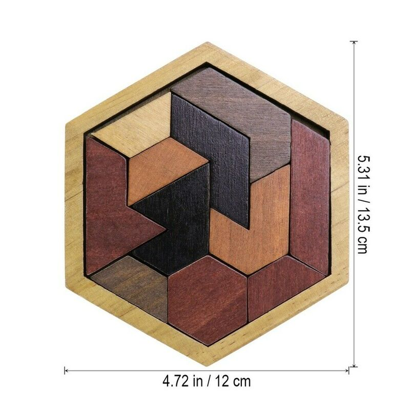 Wooden IQ Game Jigsaw Intelligent Tangram Brain Teaser Puzzles Baby Kid Toy Gift